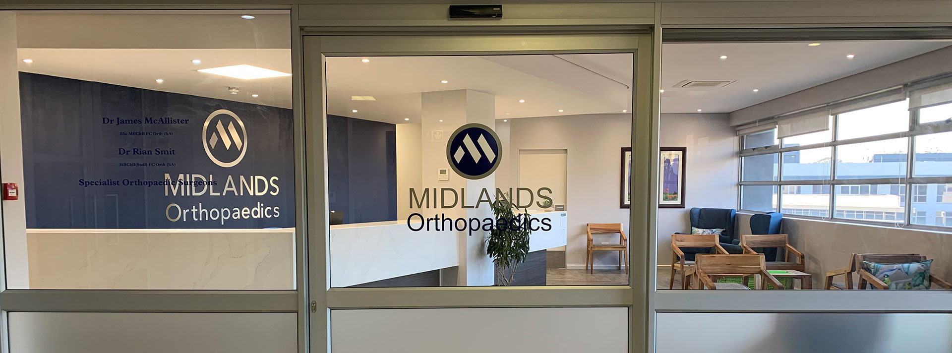 Midlands Orthopeadics as seen from outside the front door.